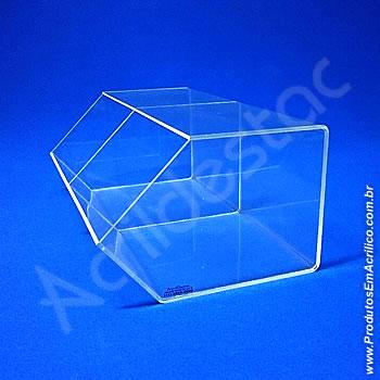 Baleiro de acrilico cristal duplo 15x36x22cm caixa expositora em grau, sem tampa