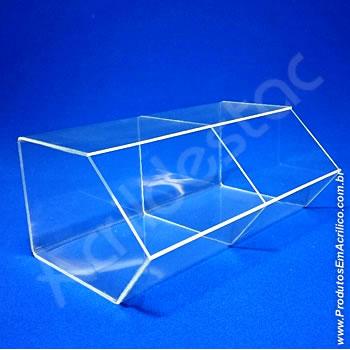 Baleiro de acrilico cristal duplo15x33x20cm caixa expositora em grau, sem tampa