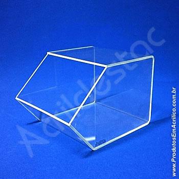 Baleiro de acrilico cristal indiv 15x16x20cm caixa expositora em grau, sem tampa