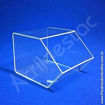 Baleiro de acrilico cristal indiv 15x18x22cm caixa expositora em grau, sem tampa