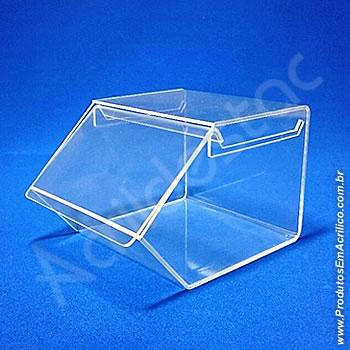Baleiro de acrilico cristal indiv com Tampa 15x16x20cm