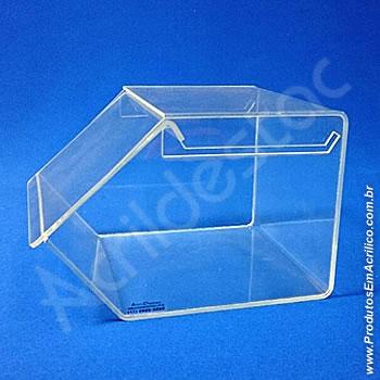 Baleiro de acrilico cristal indiv com Tampa 15x18x22cm