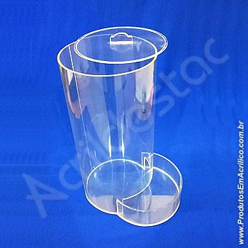 Baleiro de acrilico cristal Tubo 30cm alt x 15cm Ø com tampa