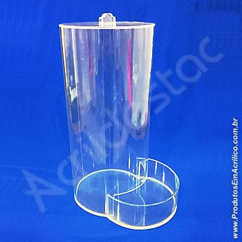 Baleiro de acrilico cristal Tubo 44cm alt x 15cm Ø com tampa