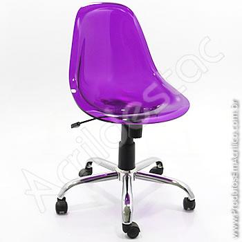 Cadeira em acrílico Charles com Base Giratória