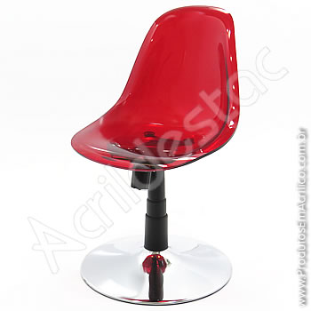 Cadeira em acrílico Charles Giratória Base Disco