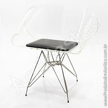 Cadeira em acrílico Envelope com Base Fixa