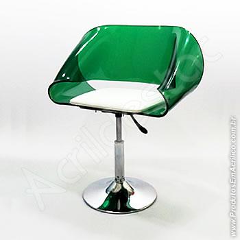 Cadeira em acrílico Envelope Giratória Base Disco