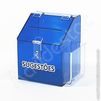 Caixa de Sugestões Azul Cobalto 20 cm Altura