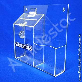 Caixa de Sugestões Cristal 24,5 x 24,5 cm