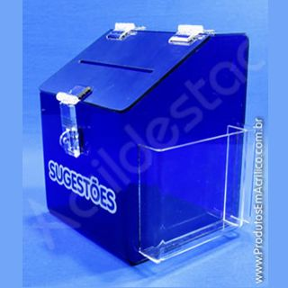 Caixa de Sugestões em Acrílico Azul 20 CM Altura