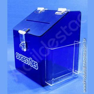 Caixa de Sugestões em Acrílico Azul 25 CM Altura
