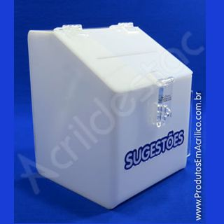 Caixa de Sugestões em Acrílico Branco 20 CM Altura