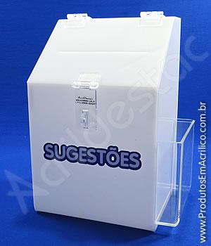 Caixa de Sugestões em Acrílico Branco 25 CM Altura