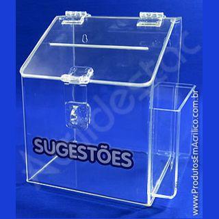 Caixa de Sugestões em Acrílico Cristal 20 CM Altura