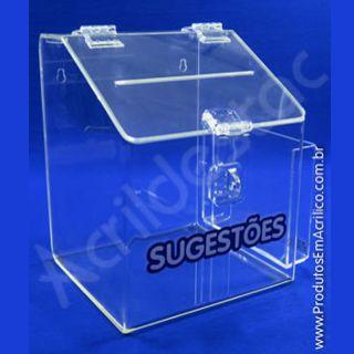 Caixa de Sugestões em Acrílico Cristal 25 CM Altura