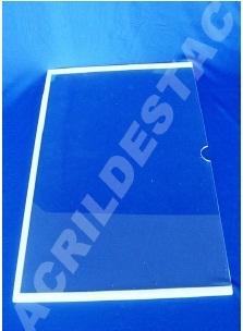 Display em acrílico Cristal Borda fita dupla-face branca para parede, Horizontal
