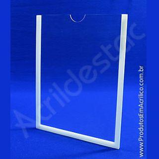 Display em acrílico Cristal Borda fita dupla-face branca para parede, Vertical