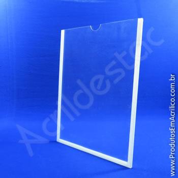 Display em acrílico Cristal com Borda em acrílico Branco para parede