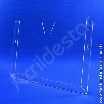 Display em acrílico Cristal com moldura dobrada Horizontal