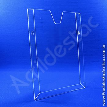 Display em acrílico Cristal com moldura dobrada Vertical