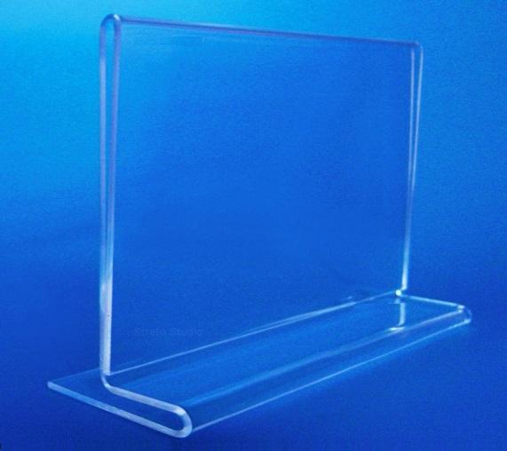 Display em acrílico Cristal modelo T invertido Horizontal