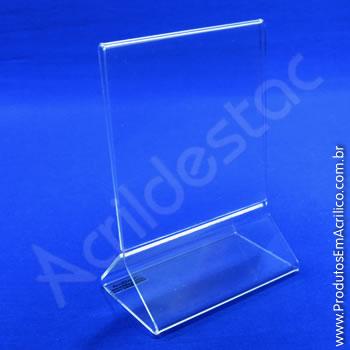 Display em acrílico modelo T invertido com base triangular