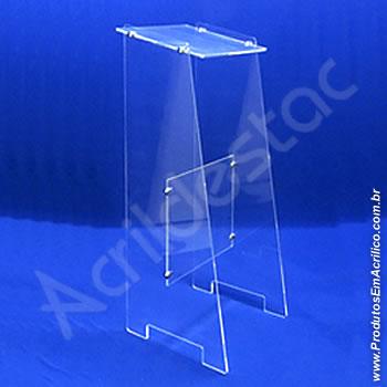 Expositor acrílico 100 cm alt, porta folheto mesa dupla