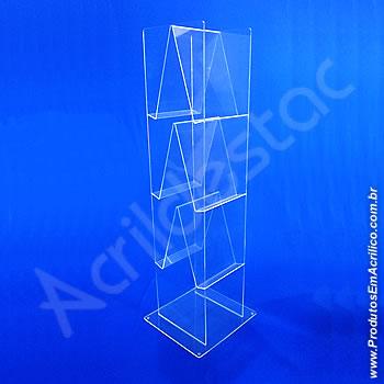 Expositor acrílico 120 cm alt, com 6 porta folhetos