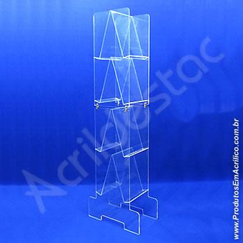 Expositor acrílico 145cm alt, com 8 porta folhetos