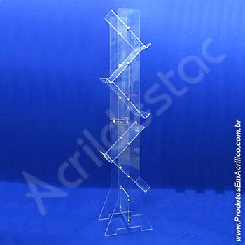 Expositor acrílico 150 cm alt, com 5 porta folhetos