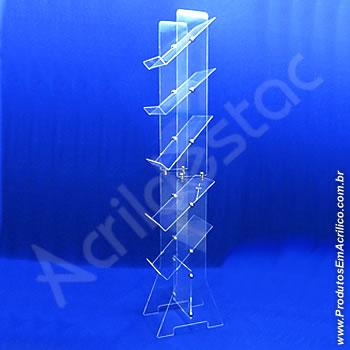 Expositor acrílico 150cm alt, 5 porta folhetos montados para um único lado