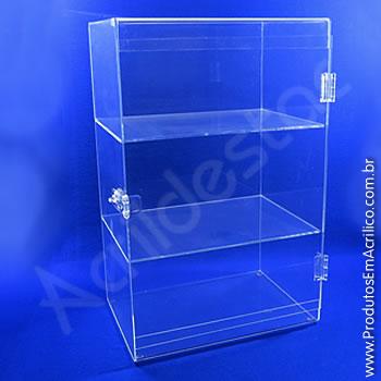 Expositor em acrílico Cristal com porta de abrir