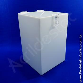 Urna de acrílico Branca 25cm alt Retangular