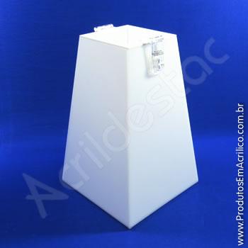 Urna de acrílico Branco 25cm alt Piramidal