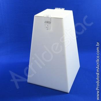 Urna de acrílico Branco 30cm alt Piramidal
