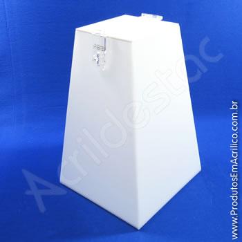 Urna de acrílico Branco 40cm alt Piramidal