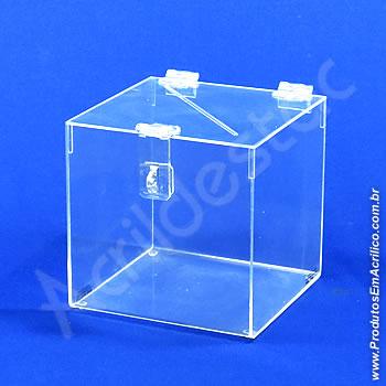Urna de acrílico Cristal 16cm alt Quadrada