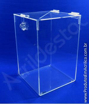 Urna de acrílico cristal 16cm alt Retangular