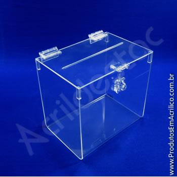 Urna de acrílico Cristal 18cm alt Retangular