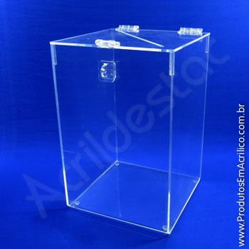 Urna de acrílico Cristal 25cm alt Retangular