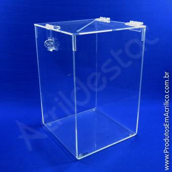 Urna de acrílico Cristal 40cm alt Retangular